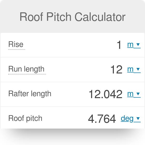 Roof Pitch Calculator