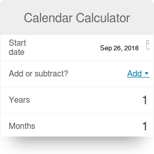 Calendar Calculator | Add and subtract time