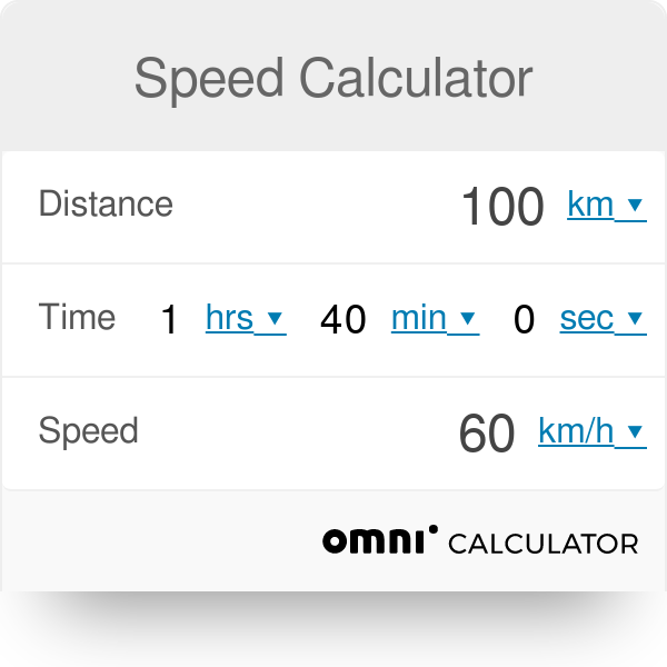 Kilometers To Mph >> Speed Calculator Omni