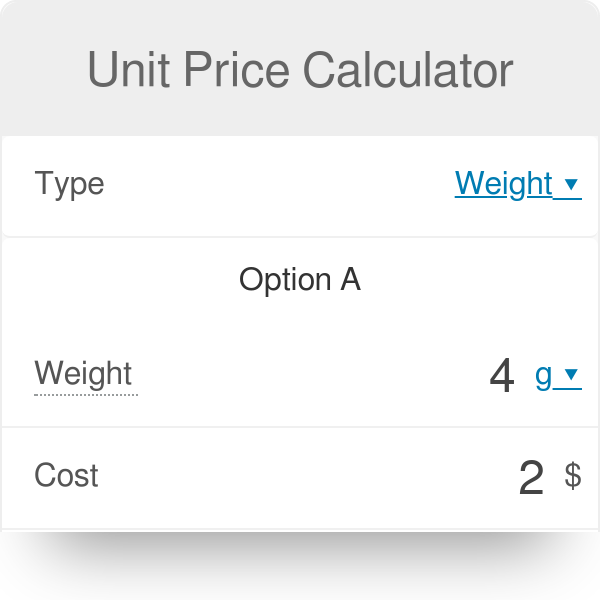Unit Price Calculator Which Item Is