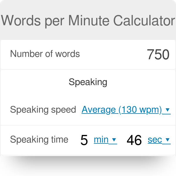 speaking time calculator