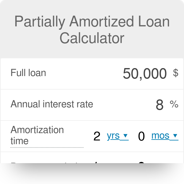 partially amortized loan calculator omni