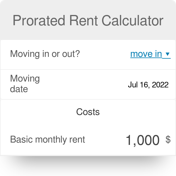 Prorated Rent Calculator Meaning Omni