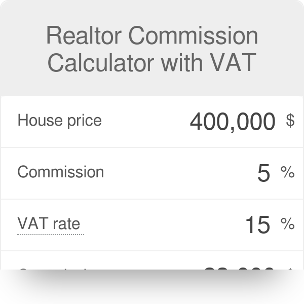 Realtor commission calculator with vat omni.