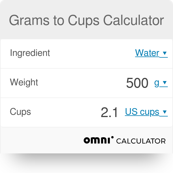 Grams To Cups Calculator Convert 100 Grams To Cups Omni