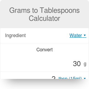 Grams to Tablespoons Calculator. Sugar, Butter, Flour & Others