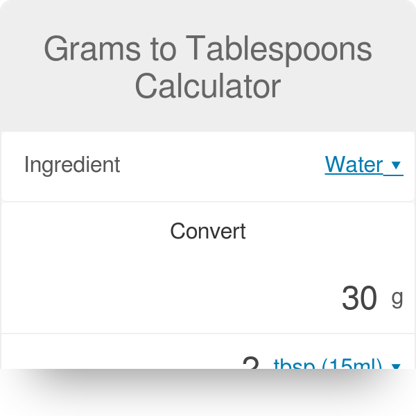 Grams to Tablespoons Calculator  Sugar, Butter, Flour & Others - Omni