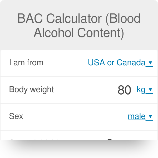 Bac Calculator Blood Alcohol Content Omni