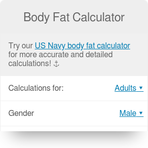 Body Fat Calculator. What's your body fat percentage?