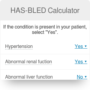 HAS-BLED Calculator - Major Bleeding Risk