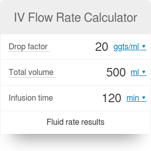 IV Flow Rate Calculator | IV Drip Rate Calculator