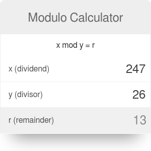 Modulo Calculator [Mod Examples]