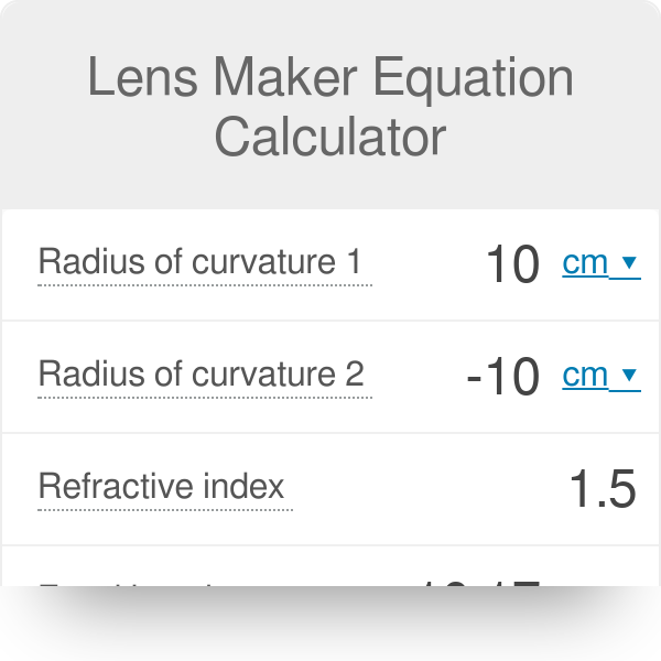 Lens Maker Equation Calculator - Omni