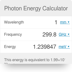 Photon Energy Calculator