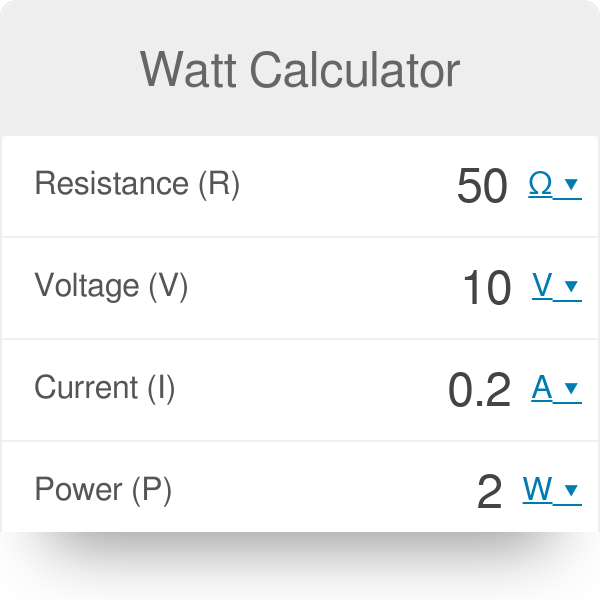 Watt Calculator | Amps, Ohms, Volts to Watts
